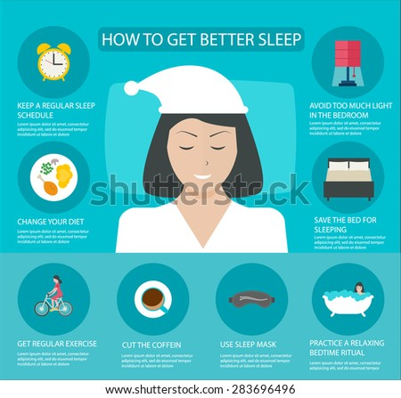 Sleep time infographics with icons set, vector illustration. Infographic How to get better sleep