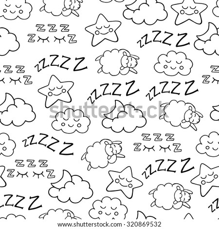 Sleep time sketch icons white and black vector seamless pattern