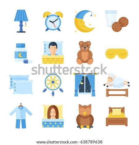 sleep time vector set of icons