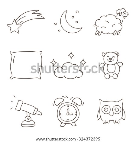 sleep vector icons  hand drawn