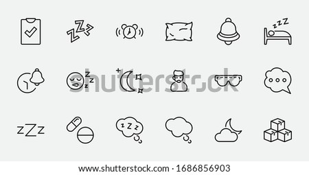 Sleep Vector Line Icons Set. Contains such Icons as Alarm Clock, Bed, Insomnia, Pillow, Sleeping Pills, Bell, Glasses for sleep, Bubble and more. Editable Stroke. 32x32 Pixels