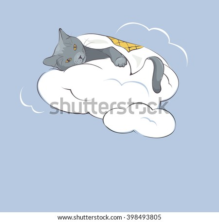 sleeper kitty on the clouds
