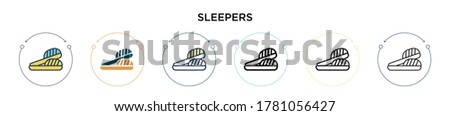 sleepers icon in filled  thin