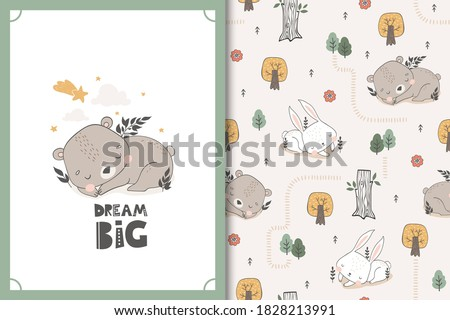 Sleeping bear and bunny baby animal characters. Cute cartoon doodle card and seamless background pattern set. Hand drawn textile surface design vector illustration. Photo stock ©