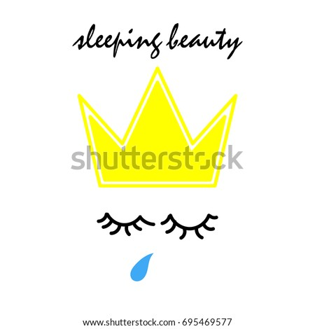sleeping beauty text with hand