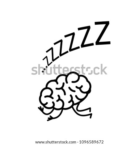 Sleeping brain. Vector concept illustration of inactive mind | flat design linear infographic icon black on white background