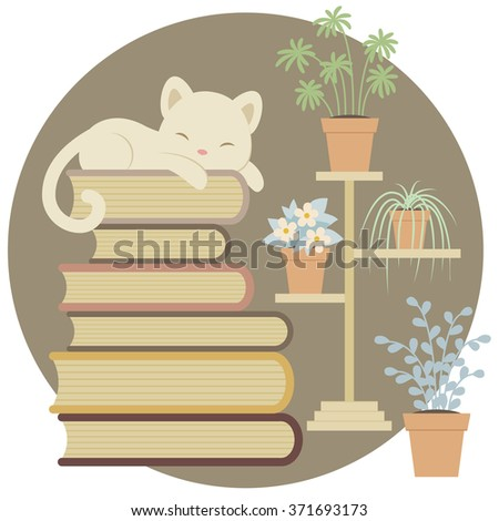 sleeping cat on a pile of books