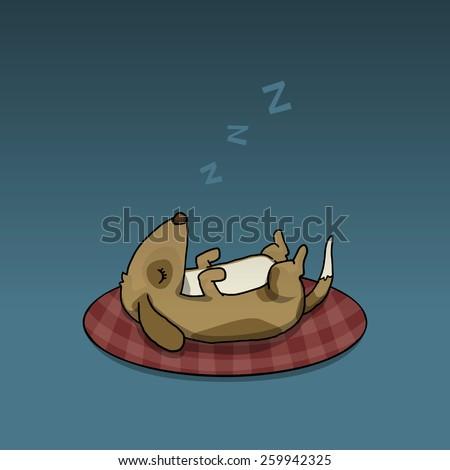 sleeping cute dog  vector