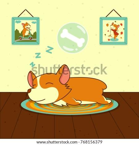 sleeping cute welsh corgi dog