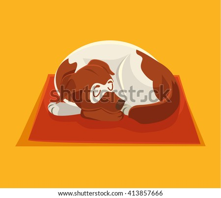 sleeping dog vector flat