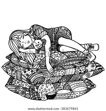 sleeping girl on pillows