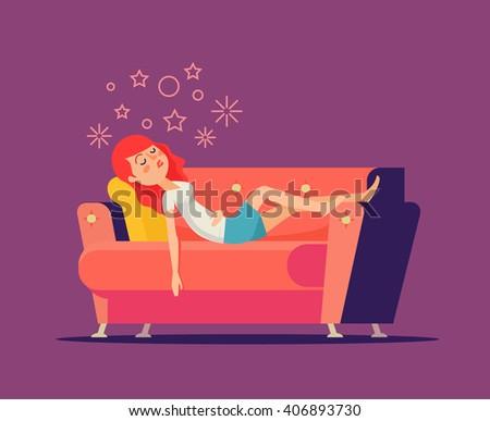 sleeping girl on sofa vector