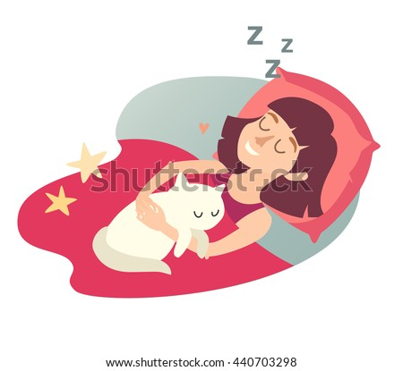 Sleeping Girl With Cat Cartoon Happy Woman Sweet Dreams Icon