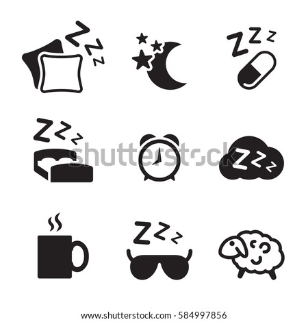 Sleeping icons set. Black on a white background