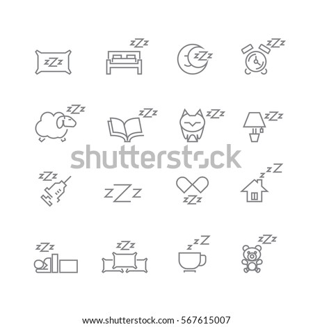 Sleeping icons set ,Vector