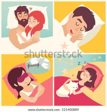 Sleeping man. Cartoon boy at bed. Cartoon character men on pillow. Sweet dreams. Snoringman. Sleep icon, vector illustration on white background. Flat sticker