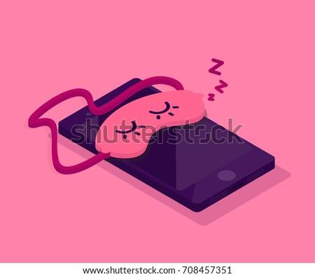 Sleeping phone / Mask for sleep / Isolated