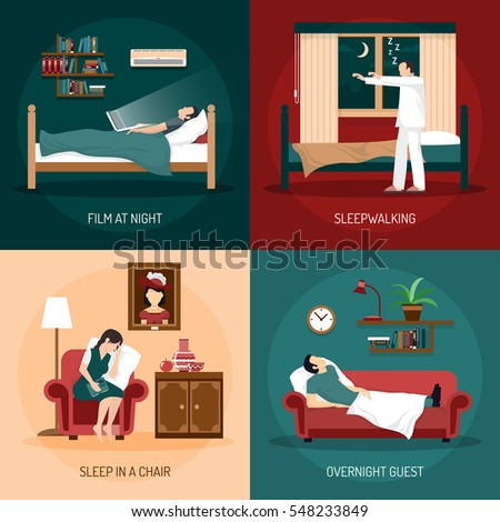 Sleeping poses design concept with sleepwalking sleep in chair overnight guest and film at night  2x2 compositions flat vector illustration