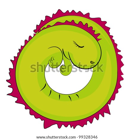 sleeping reptile icon. cartoon dragon illustration