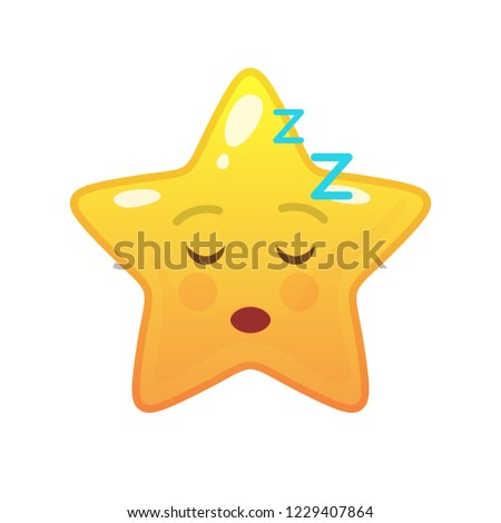 Sleeping star shaped comic emoticon. Dozed face with facial expression. Napping emoji symbol for internet chatting. Funny social communication animated character. Mood message isolated vector element