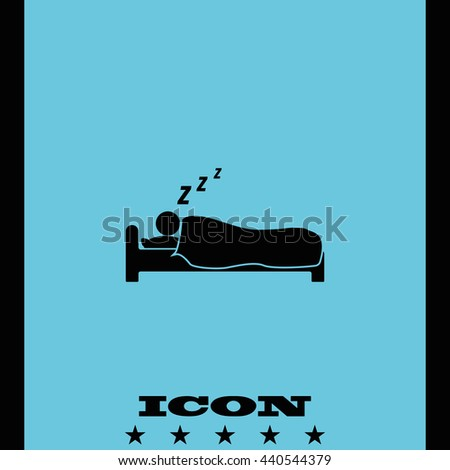 Sleeping vector icon. Person wrapped up in a blanket illustration. Hotel symbol.