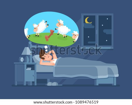 Sleepless man in bed trying to fall asleep counting jumping sheeps. Count sheep for insomnia cartoon vector concept