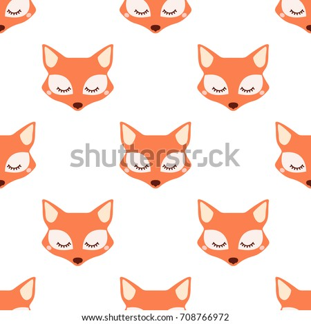 Sleepy fox. Seamless vector pattern