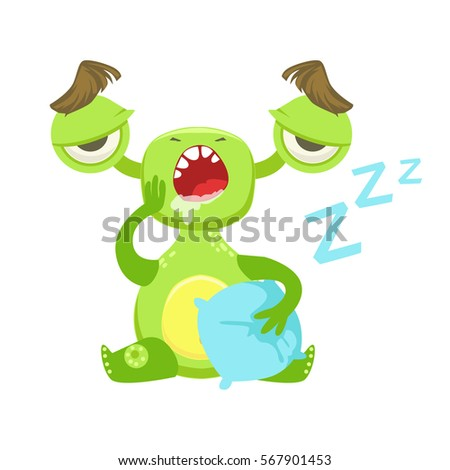 sleepy funny monster yawning