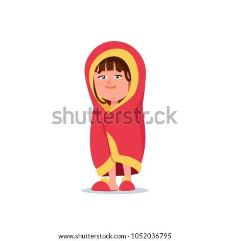 Sleepy Kid Girl Wrapped in Pink Blanket. Cartoon Style Vector Illustration