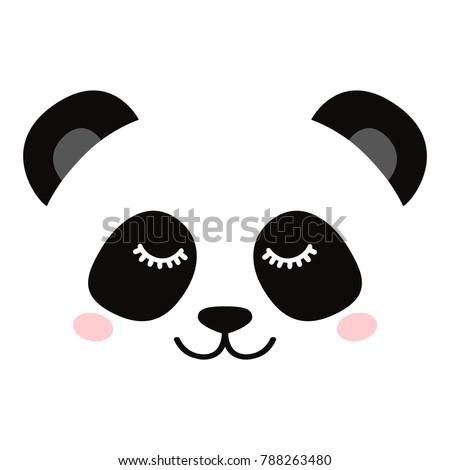 Sleepy panda face isolated on white background