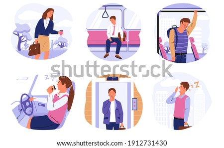 Sleepy people. Drowsy characters in transport and public places, tired office workers with drowsiness and dozing driver. Cartoon scenes with exhausted yawning men or women wanting sleep, vector set ストックフォト ©