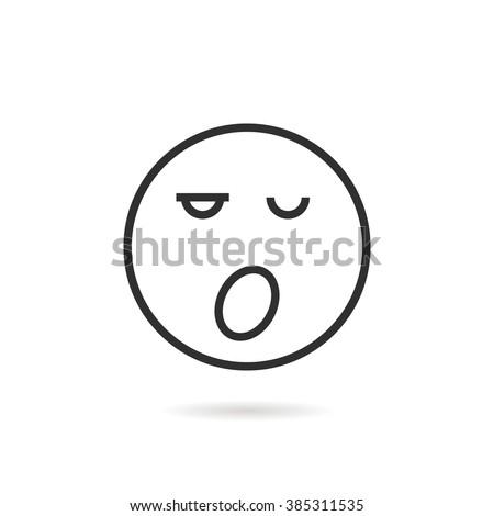 sleepy thin line emoji icon
