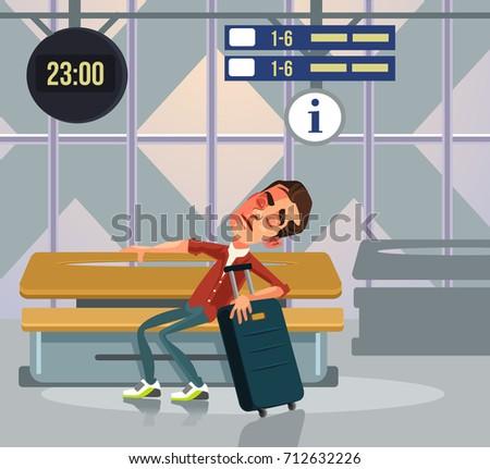 sleepy tourist man character