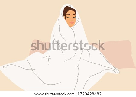 sleepy woman covered with a