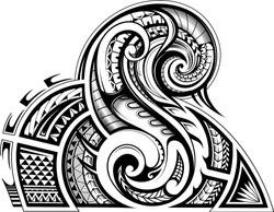 Sleeve tribal tattoo in Maori ethnic style