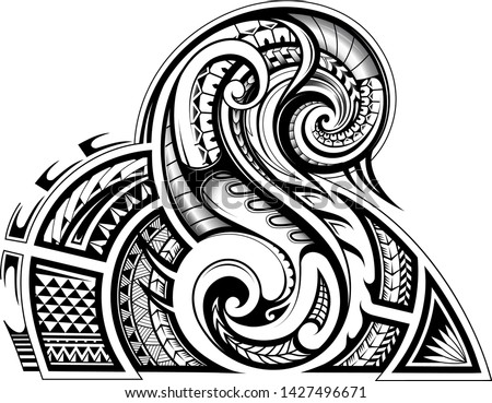 Sleeve tribal tattoo in Maori ethnic style