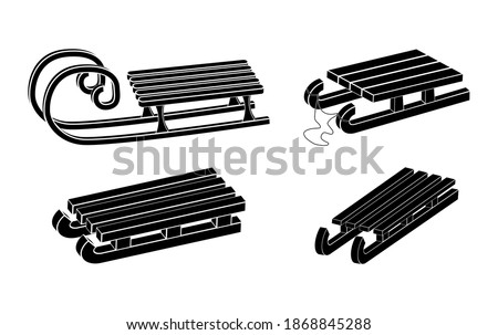 Sleigh silhouette vector symbol set. Winter sledge for children icon collection. Wooden snow sled black shape. Classic child old wood transport vehicle design. Seasonal illustration isolated on white Foto stock ©