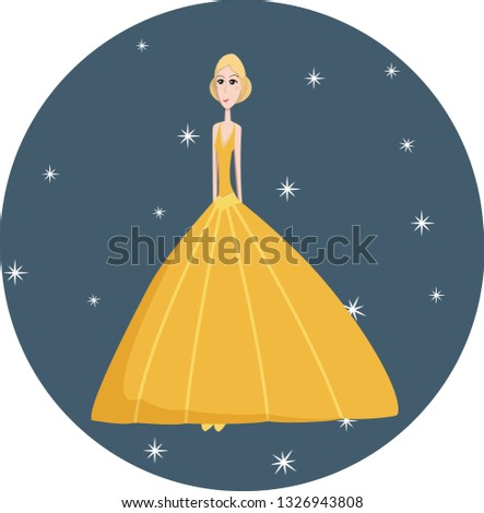 Slender girl princess with a high hairstyle in a ball yellow dress among twinkling stars vector