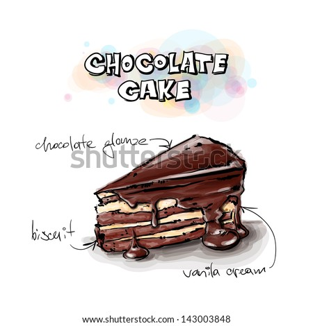 slice of chocolate cake sketch