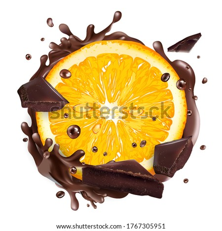Slice of orange with chocolate pieces and splashes.