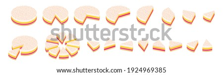 Slice of pie. Pieces pink cake infographics set. The whole cake and its parts. Isometric view vector illustration.