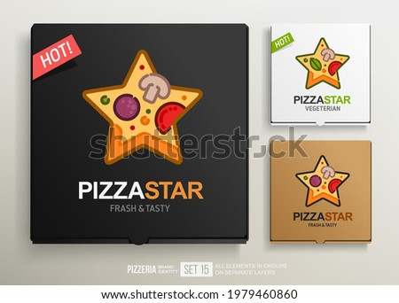 Slice of Pizza Star logo on pizza box mockup vector template. Concept of Vegetarian Pizza Star icon or logotype for pizzeria restaurant brand emblem. Cardboard package box