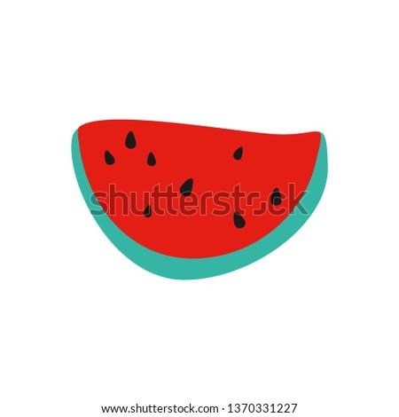 Slice of  watermelon. Juicy watermelon. Watermelon with seeds.