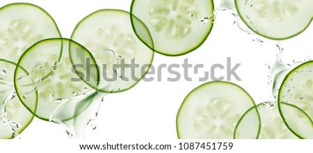 sliced cucumber with splashing