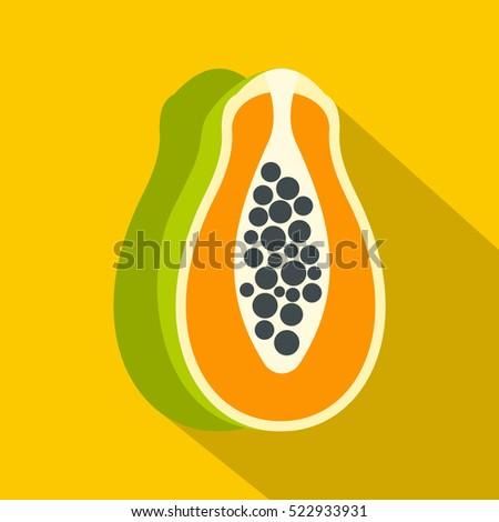 sliced fresh papaya icon flat