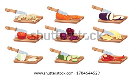 Sliced vegetables and knife set with tomato pepper and onion flat isolated vector illustration Сток-фото ©