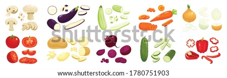 Sliced vegetables set with onion carrot and potatoes flat isolated vector illustration