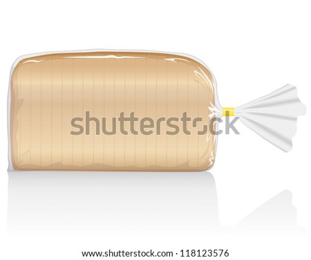 Sliced white bread loaf vector visual, in clear plastic film bag