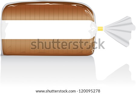 Sliced white or brown bread loaf vector visual, in clear plastic film bag, with blank white printed panel.