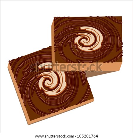 Slices of chocolate cake isolated on white, vector illustration